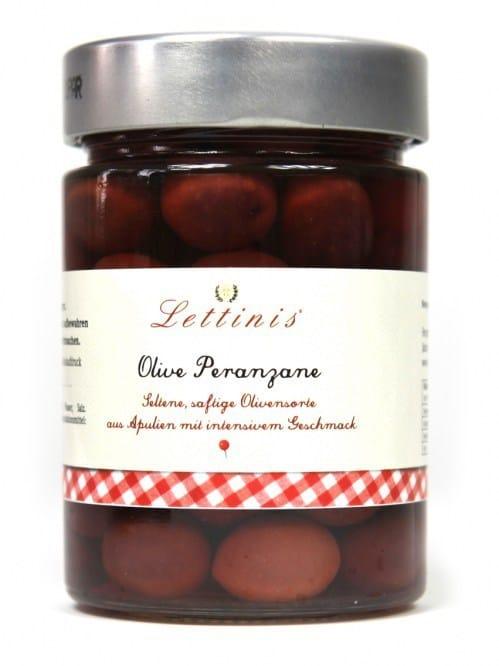 Oliven, schwarze Oliven, Peranzane, Lettinis